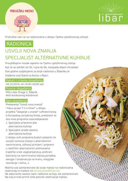 Usvoji nova znanja - Specijalist alternativne kuhinje